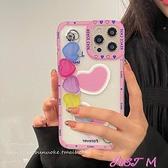 彩色愛心手鏈適用于蘋果12pro手機殼iphone11鏈條xsmax鏡頭 JUST M