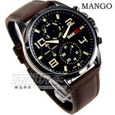 MANGO HOMME 公司貨 雅痞格調三眼時尚錶 真皮 咖啡 防水手錶 男錶 MG950005-13