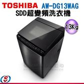 【信源】13公斤 TOSHIBA 東芝 SDD超變頻洗衣機 AW-DG13WAG 不含安裝