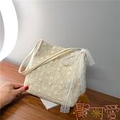 包包韓版草編蕾絲單肩包手提包大容量水桶購物袋【聚可愛】