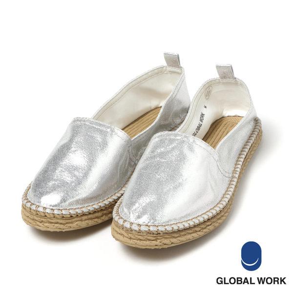 GLOBAL WORK女素色亮面毛毛草繩編織平底鞋-三色