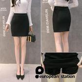 短裙 職業半身裙包臀裙工作彈力高腰「歐洲站」