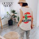 Queen Shop【01150181】夏日仙人掌印圖無袖上衣 兩色售*現+預*