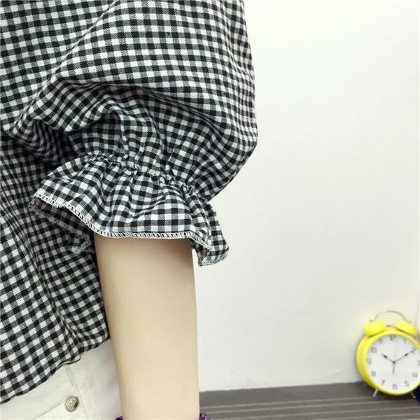 (全館一件免運)DE SHOP~東大門性感一字領露肩荷葉袖格子上衣襯衫 (T-127)均碼