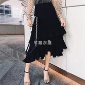 不規則半身裙女夏季設計感中長款春秋黑色百褶裙復古荷葉邊蛋糕裙 芊惠衣屋