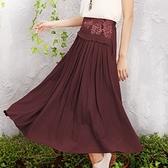 棉麻長裙-成熟穩重高貴氣質半身女裙子3色73hr36[巴黎精品]
