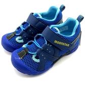《7+1童鞋》中童 日本 MOONSTAR 月星 護趾 透氣 魔鬼氈 機能涼鞋 C482 藍色