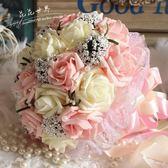 韓式新娘手捧花束仿真玫瑰花球唯美婚慶用花婚禮拍攝道具 春生雜貨