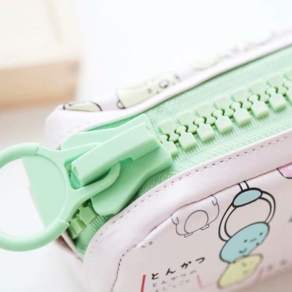創意居卡通角落生物可愛兒童學生大容量鉛筆袋PU皮大拉鍊筆盒文具