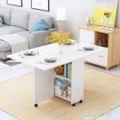 簡易圓形摺疊餐桌小戶型家用可移動帶輪長方...