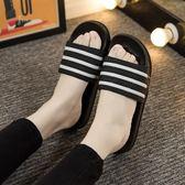 浴室拖鞋   夏浴室洗澡拖鞋可愛條紋情侶室內女士居家居涼拖鞋 莎瓦迪卡