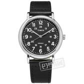 TIMEX 天美時 / TXTW2T30700 / Weekender系列 INDIGLO專利冷光照明 24小時顯示 真皮手錶 黑色 40mm