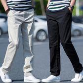 夏季薄款休閒褲男寬鬆彈力男褲青年韓版潮流長褲男士直筒大碼褲子  遇見生活