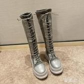 綁帶過膝長靴女2019秋冬新款高跟顯瘦時尚百搭馬丁靴長筒女靴 KV3393 【野之旅】