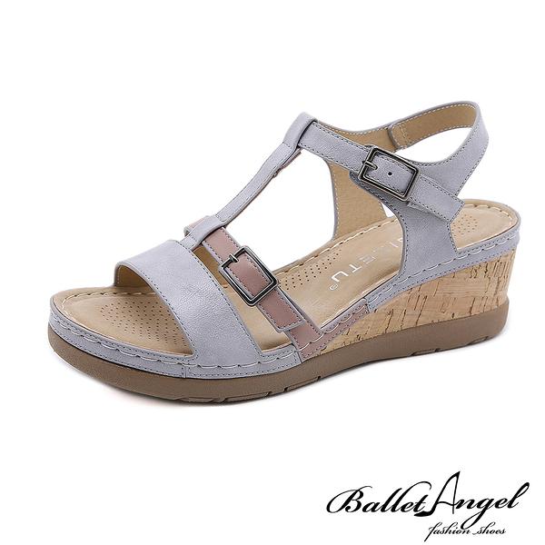 涼鞋 摩登撞色T字輕量楔型涼鞋(灰) * BalletAngel【18-3117-3gr】【現+預】