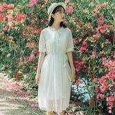 復古文藝時尚清新白色好質量高腰修身蕾絲連身裙女【印象閣樓】