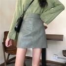皮裙2020新款包臀短裙女秋冬氣質a字半身裙顯瘦高腰綠色裙子潮ins