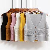 全館83折 春秋季新款寬鬆百搭無袖針織毛衣坎肩女短款學生毛線馬甲背心外套