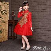 女童洋氣秋裝旗袍新款中式盤扣孔雀唐裝裙子兒童中國風公主裙 范思蓮恩