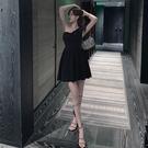 御姐連身裙氣質輕熟風假兩件拼接設計感洋裝 西裝馬甲女收腰綁帶a字裙
