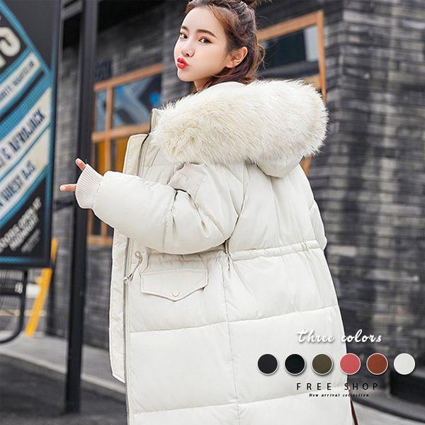[現貨] 加厚保暖羽絨棉中長版大毛領外套 韓麵包外套 鋪棉長版外套 大衣外套 大尺碼【QZZZ11043】