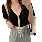 EASON SHOP(GW7196)韓版撞色拼接薄款短版大V領排釦開衫縮口泡泡袖短袖針織衫外套罩衫女上衣服坑條紋