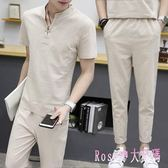 大碼運動套裝 夏季男士輕薄短袖T恤韓版休閒純色兩件式新款潮流帥氣衣服 DR17627【Rose中大尺碼】