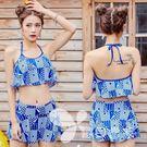 新款學生游泳衣韓版修身分體兩件套性感露腰...