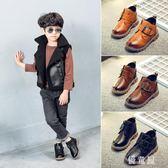 男童馬丁靴加絨2018秋冬季單靴新款英倫風兒童馬丁靴男孩黑色短靴 QG12877『優童屋』
