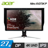 【Acer 宏碁】27型 Nitro 4K廣視角電競液晶顯示器(XV273K P) 【贈飲料杯套】