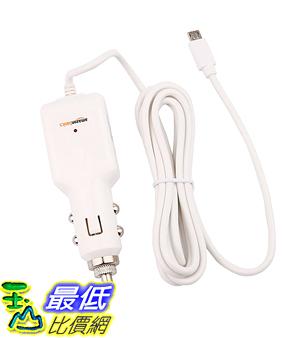 [106美國直購]  AmazonBasics Micro 車載充電器 USB Universal Car Charger for Android - Coiled Cable - White