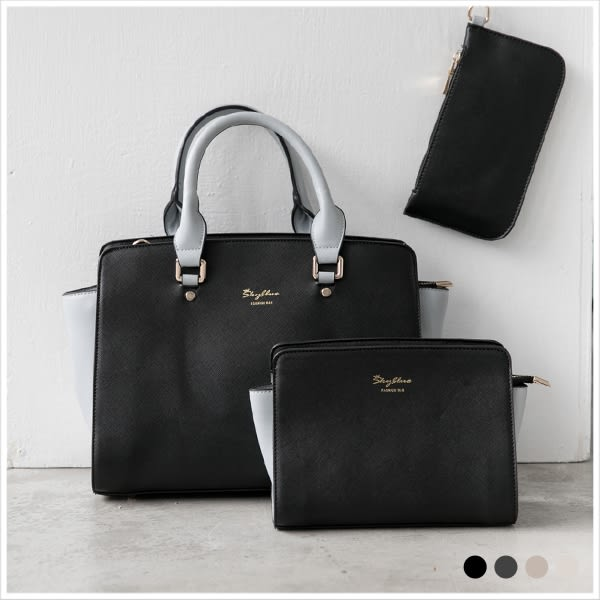 手提包-skyblue自訂撞色簡約包中包-共4色-A03030988-天藍小舖