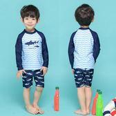 兒童泳衣韓版男童寶寶分體長袖五分褲小童中大童男孩游泳褲2-12歲