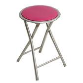 鐵管折合圓椅-桃紅【愛買】