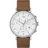 TIMEX 天美時 休閒白面三眼淺咖啡色皮帶錶 42mm白 冷光夜光面板 TXTW2R26700 公司貨 | 高雄名人鐘錶