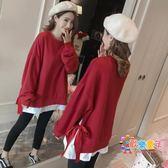 孕婦秋冬2018新款刷毛加厚韓版寬鬆休閒長袖上衣純色假兩件連帽T恤裙