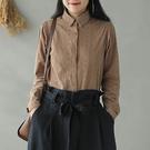 純棉刺繡襯衫 蕾絲鉤花襯衫 白襯衫 長袖翻領上衣/2色 -夢想家-0217