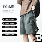 工裝短褲男寬版嘻哈大碼休閒中褲日系五分褲夏季薄【左岸男裝】