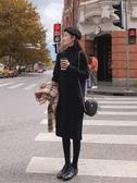針織洋裝 半高領毛衣裙女中長款寬鬆加厚配大衣的內搭針織打底洋裝慵懶冬【全館免運】
