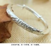 女款龍鳳福字實心999純銀手鐲子中老年長輩送女友媽媽奶奶禮物 居享優品