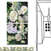 【24mama 掛畫】二聯式 油畫布 無框畫30x30cm-一束白玫瑰油畫布無時鐘