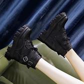 楔型鞋 超火馬丁靴女潮ins酷顯瘦2020秋季新款內增高英倫風彈力厚底短靴