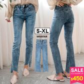 春裝上市-MIUSTAR褲管ㄑ型割破小喇叭牛仔褲(共1色,S-XL)【NH0053】預購