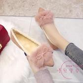 豆豆鞋 毛毛鞋女外穿一腳蹬尖頭平底秋冬季新品百搭豆豆鞋子鋪棉單鞋【快速出貨】