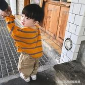 長袖上衣 男童衛生衣上衣寶寶打底衫男童t恤長袖女童條紋打底衫韓版 童趣潮品