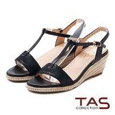 【↘44折】TAS 蛇紋T字繫帶麻繩楔型涼鞋-深邃黑