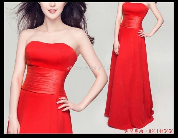 (45 Design) 訂做款式7天到貨明星同款優雅新娘敬酒服演出服宴會晚禮服綁帶款 拉鍊款