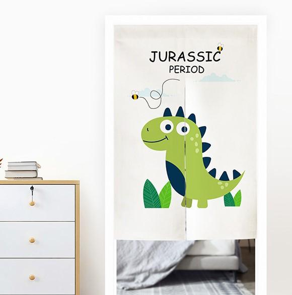 簡約現代卡通半簾 可愛恐龍兒童房臥室門簾 風水簾 尺寸可訂製 (寬65*高90cm)