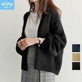 【V2638】shiny藍格子-基本秋織.純色寬鬆長袖針織開衫外套