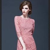 洋裝-蕾絲歐美睫毛蕾絲修身七分袖連身裙72f1【巴黎精品】